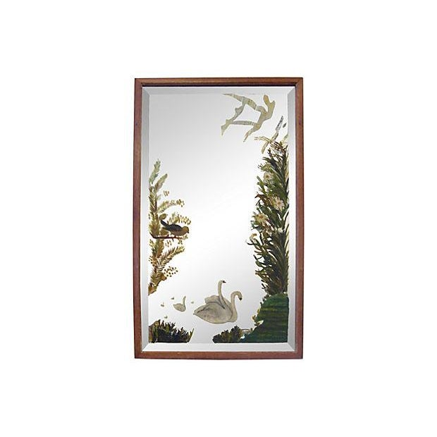 Victorian Painted Mirror with Swans - Image 1 of 3