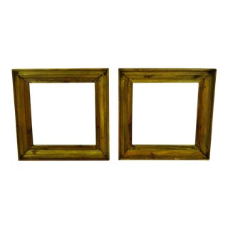 Rustic Distressed Wood Wall Mirrors - A Pair For Sale