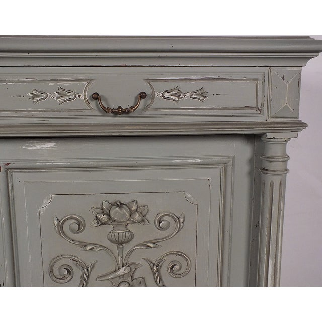 19th C. French Vintage Gray Credenza - Image 7 of 11