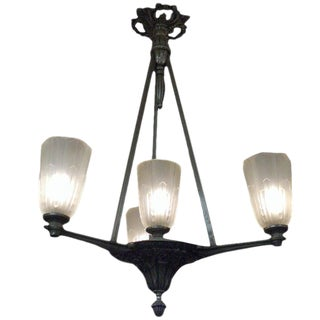 Four Tulip Chandelier in Frosted Glass and Satin Nickel Bronze For Sale