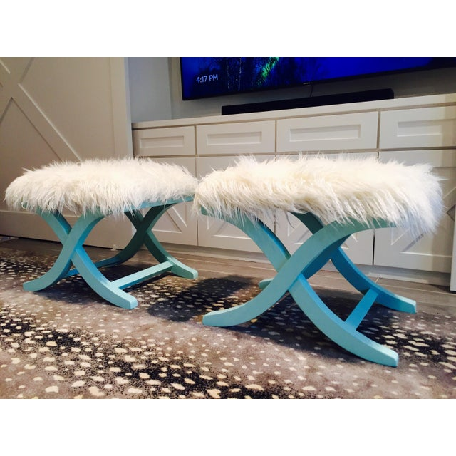 Aqua/Teal X-Benches with Faux-Mongolian Fur - Pair - Image 7 of 9