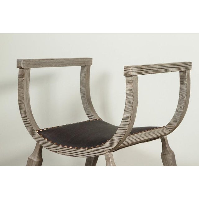 Contemporary Paul Marra Distressed Fir Bench in Brown Horsehair For Sale - Image 3 of 7