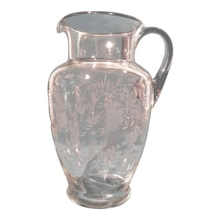 Vintage Floral Etched Glass Water Pitcher