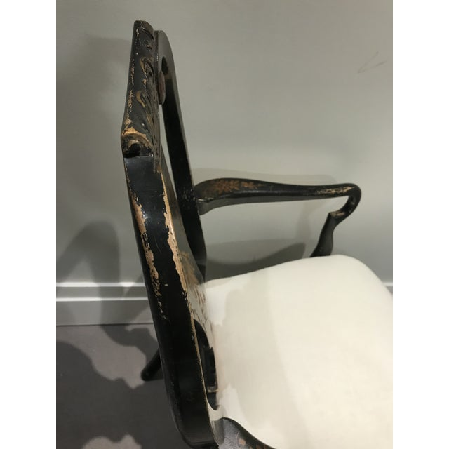 1940s Antique Painted Chinoiserie Arm Chair For Sale - Image 5 of 13
