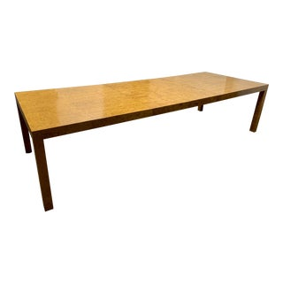 Milo Baughman Burl Wood Dining Table With Two Leaves For Sale