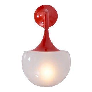 Martinelli Luce Wall Lamps in Hot Orange - A Pair For Sale