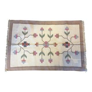 Scandinavian Wool Dhrurrie Rug - 4′ × 6′3″ For Sale