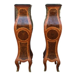 1920s Vintage Louise XV Style Kingwood and Bronze Pedestals- a Pair For Sale