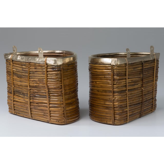 1970s 1970s Mid Century Handmade Pencil Reed Cane Brass Hanging Planters For Sale - Image 5 of 13
