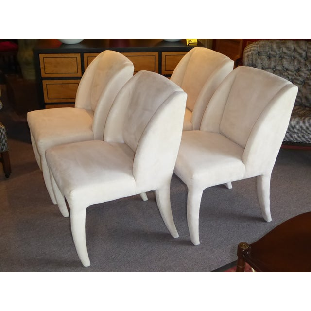 1980's Directional Scupltural Ultra Suede Modern Dining Chairs - Set of 4 For Sale - Image 12 of 13