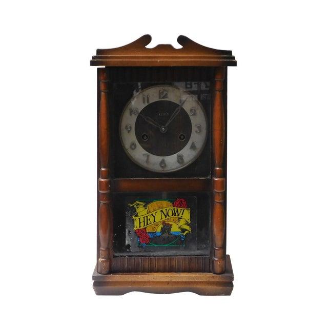Brown Vintage Old Shanghai European Building Style Pendulum Swing Clock For Sale - Image 8 of 8