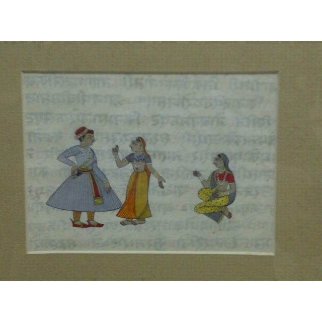 """Asian Original Hand-Colored """"Indian Man & 2 Women"""" Framed and Matted Print For Sale - Image 3 of 5"""