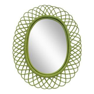 Franco Albini Oval Rattan Wall Mirror