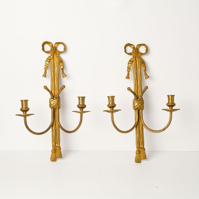 Pair of Gilt Bronze Rope Sconces For Sale - Image 4 of 8