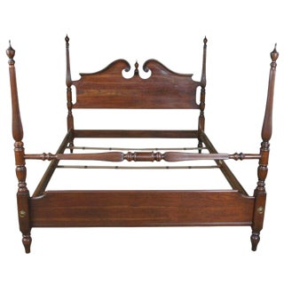 Ethan Allen Georgian Court Cherry Double Size Pediment Full Poster Bed For Sale