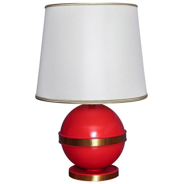 1970s Vintage Mid-Century Orange Globe Table Lamp - Image 1 of 5