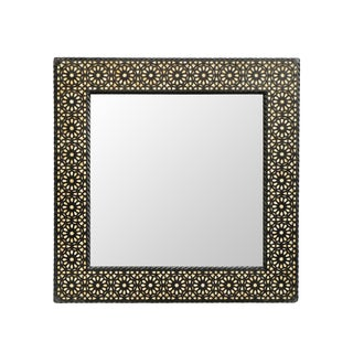 Square Moroccan Wood Inlay Mirror Small For Sale