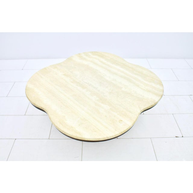 Stone Travertine Cloud Coffee Table With Wood Base, 1970s For Sale - Image 7 of 10