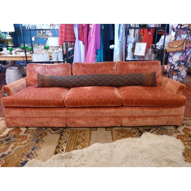 Coral Velvet Sofa For Sale - Image 9 of 9