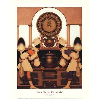"""MAXFIELD PARRISH Two Pastry Cooks 20"""" x 16"""" Poster 2003 Contemporary Brown Men, Spoons, Toques, Cook, Clock - a Pair For Sale"""
