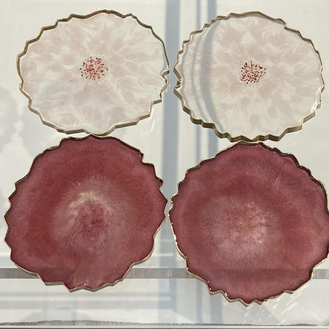 Set of Epoxy Resin Hand-cast coasters in the USA. Inspired by natural geodes, coasters have been created with resin...