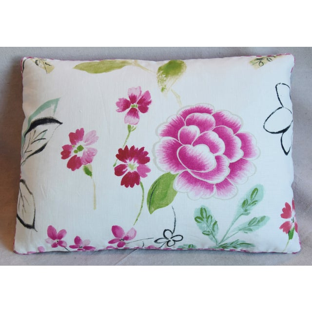 "Abstract French Manuel Canovas Floral Linen Feather/Down Pillows 22"" X 16"" - Pair For Sale - Image 3 of 13"