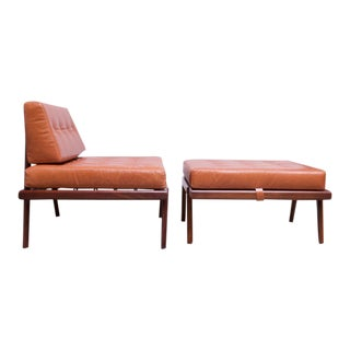 Midcentury Walnut and Leather Lounge Chair and Ottoman by Mel Smilow For Sale