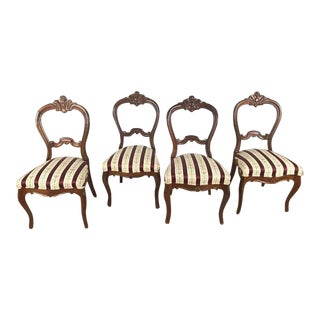 Antique Mahogany Balloon Back Side Chairs - Side of 4