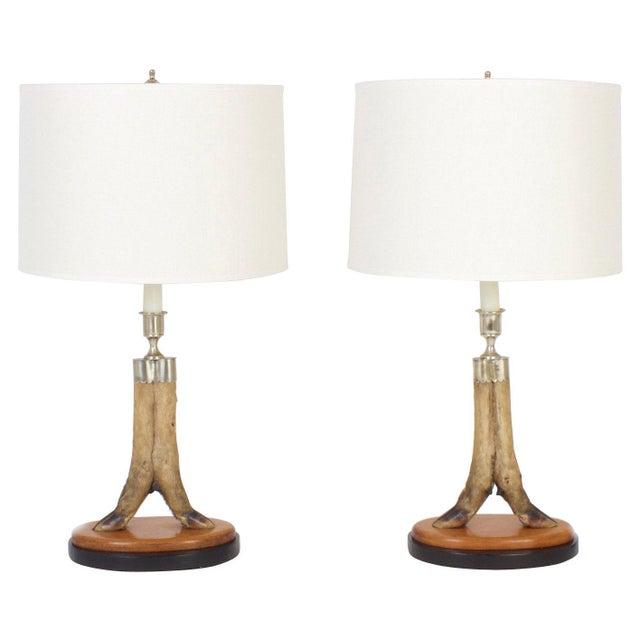 Brown Vintage Deer Hoof Table Lamps - A Pair For Sale - Image 8 of 8