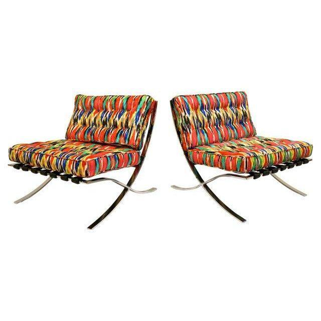 Mid-Century Modern Barcelona Style Chairs - Pair - Image 1 of 7