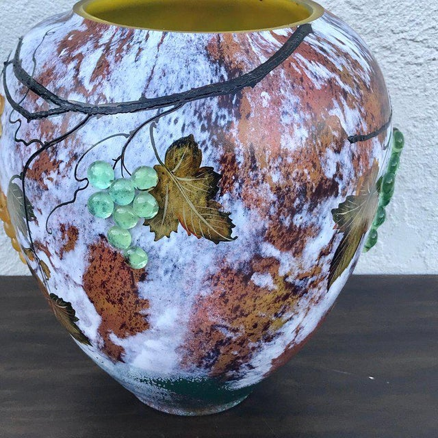 Large Art Glass Vase With Applied Grapes, After Daum Nancy For Sale In Atlanta - Image 6 of 13