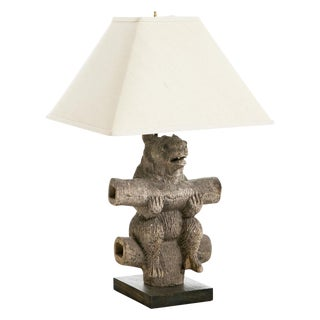 Weathered Black Forest Bear Lamp For Sale