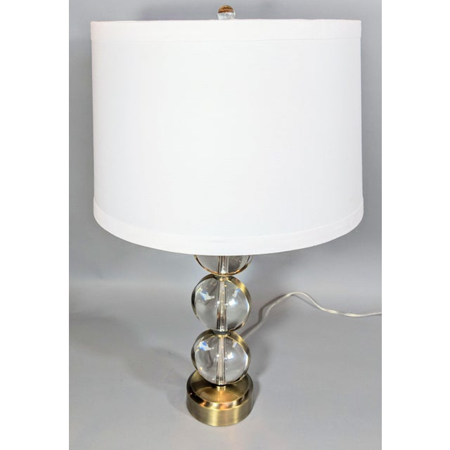 Global Views Crystal Ball Lamp in Brass With Linen & Gold Lined Shade - a Pair For Sale - Image 10 of 13