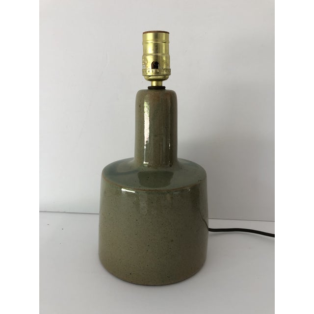 Green Midcentury Signed Martz Ceramic/Stoneware Table Lamp For Sale - Image 8 of 8