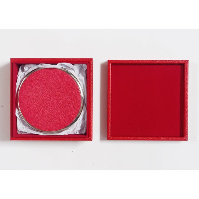 Italian red shagreen and nickel-plated coasters with matching red leather box by Fabio Bergomi / Made in Italy Coaster...