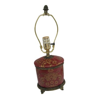 Small Burnt Orange & Gold Chinoiserie Lamp With Brass Feet For Sale
