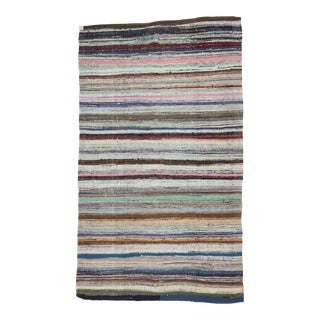 "Vintage Striped Rag Rug - 6'4"" x 10'8"" For Sale"