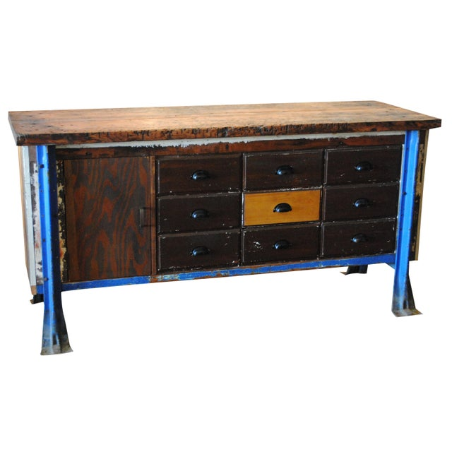 Vintage Wood Workbench Table or Console - Image 1 of 9