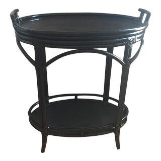 Black Bamboo Painted Bar Cart