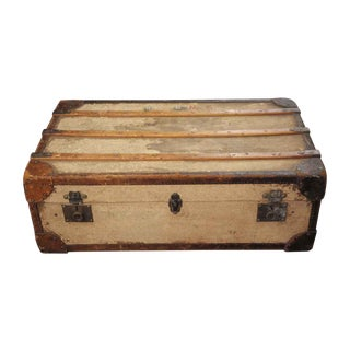 Vintage Flat Top Distressed Wood Shipping Trunk For Sale