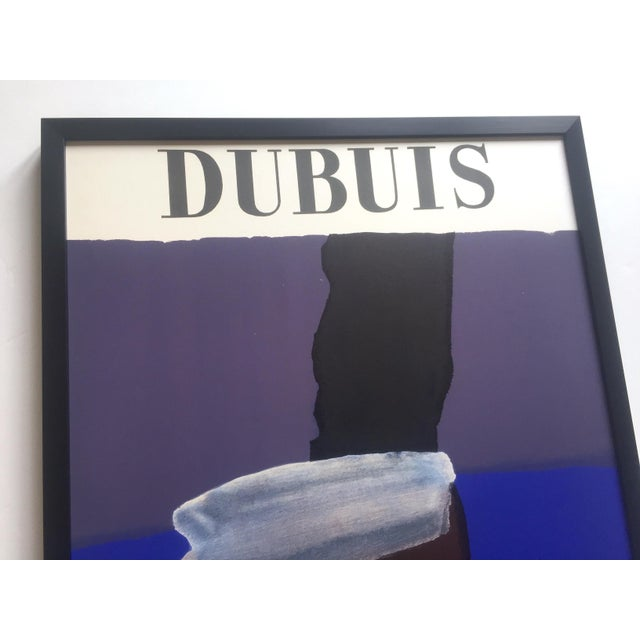 Blue Fernand Dubuis Rare Vintage 1966 Mid Century Modern French Silkscreen Print Framed Abstract Expressionist Exhibition Poster For Sale - Image 8 of 13