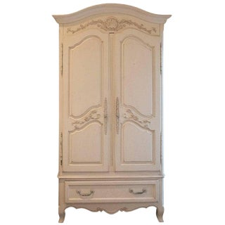 Creme White Painted French Armoire