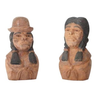 Pair Of Folk Hand Carved & Painted Indians -Signed J.I.Lizio