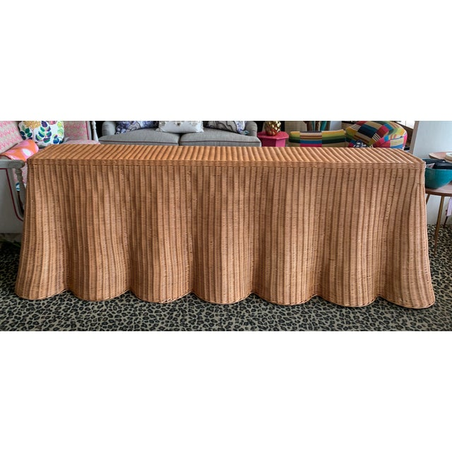 Draped Wicker Console Table For Sale - Image 4 of 4