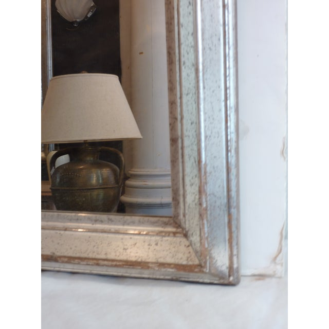 Early 20th Century Antique Silver Leaf Wall Mirror For Sale - Image 5 of 6