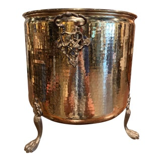 Early 20th Century French Brass Basket or Cache Pot on Paw Feet For Sale