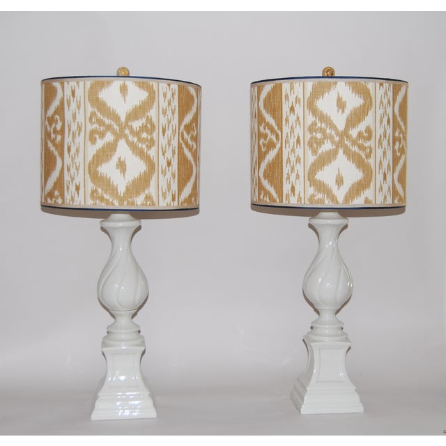 Column Lamps with Ikat Shades- A Pair - Image 2 of 6