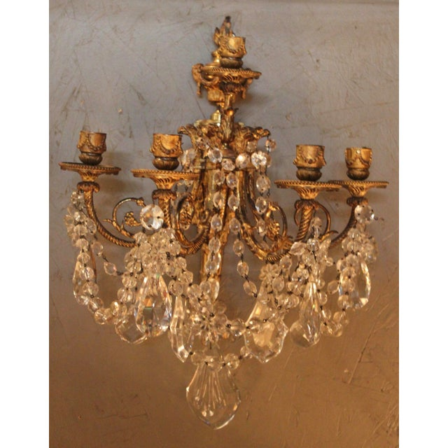 Antique French Bronze & Crystal Sconces - a Pair - Image 2 of 10
