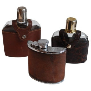 Collection of 19th and 20th Century English Leather and Croc Flasks - Set of 3 For Sale