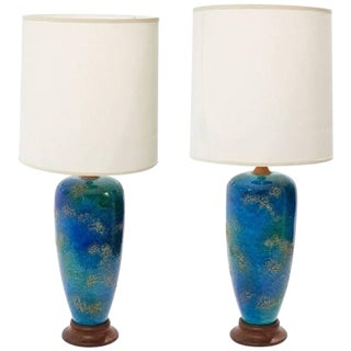 Pair of Midcentury American Blue Glazed Ceramic Lamps With Custom Shades For Sale